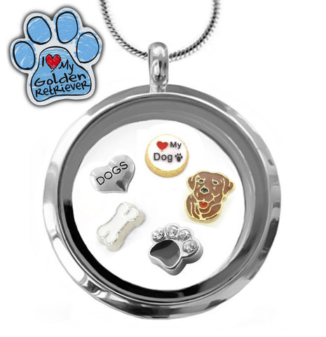 Pretty I ♥ My Labrador Floating Charm Glass Locket Pendant Necklace for Labrador Dog Lovers