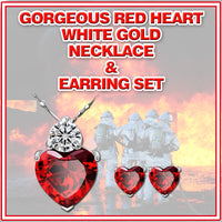 New Fashion RED HEART White Gold Plated CZ Zircon Heart Pendant Necklace & Earrings