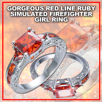 GORGEOUS RED LINE ZIRCON STONE WHITE GOLD  FILLED RUBY SIMULATED FIREFIGHTER GIRL RING