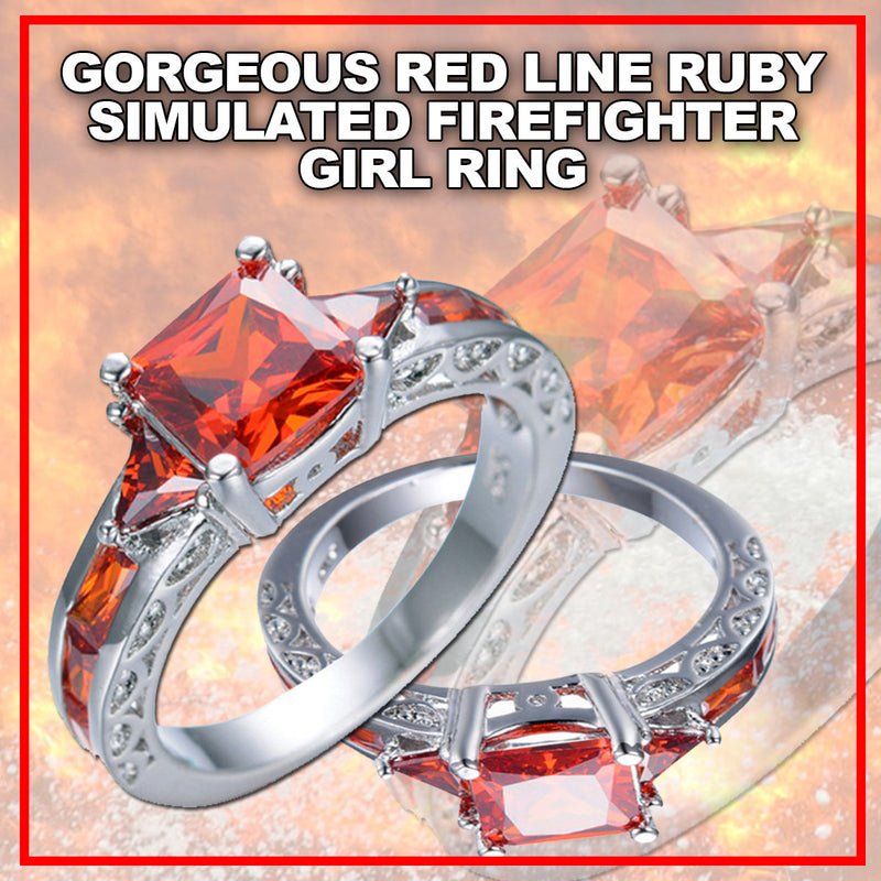simulated gold gorgeous zircon filled firefi red rings ruby girl firefighter earlychristmaspresents engagement white ring stone products line