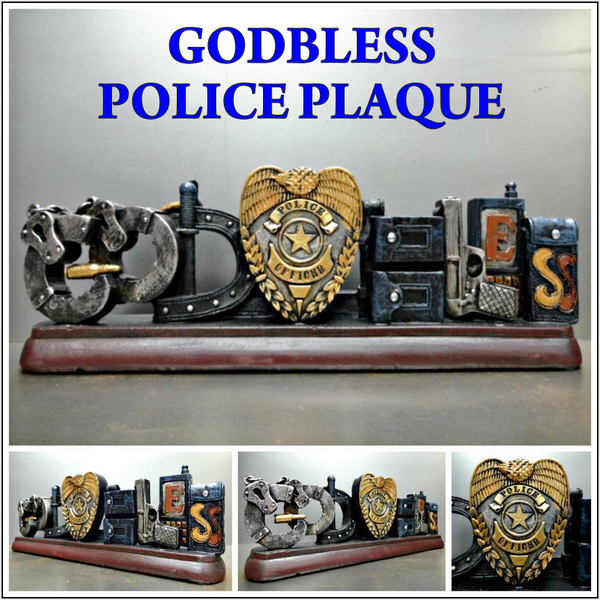 POLICE GOD BLESS PLAQUE SIGN DECORATION SCULPTURE EMBLEM