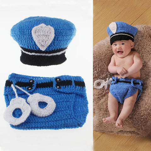 Adorable Police Design Baby Beanie Hat With Diaper Cover