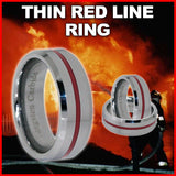 Special Amazing Thin Red Line 8mm Tungsten Carbide Ring