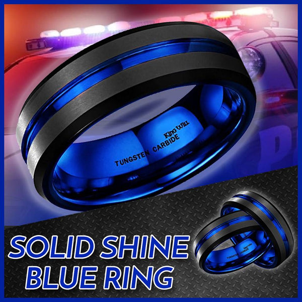 7mm Black Matte Finish Tungsten Carbide Ring Blue Beveled Edge Ring