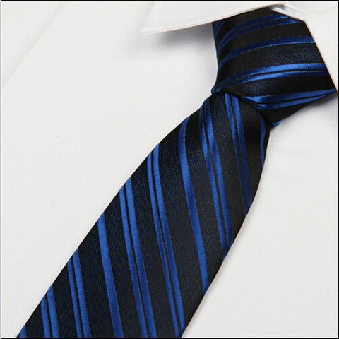 Royal blue striped black tie 8 cm formal British style