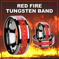 SPECIAL RED FIRE TUNGSTEN BAND WITH BEVELED EDGES & RED OPAL lNLAY 8MM