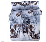 3d wolf duvet cover queen  100% cotton bedding sets