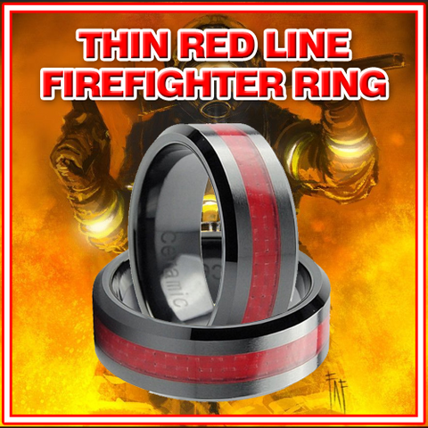 BOLD THIN RED LINE 8MM MEN'S BLACK TUNGSTEN CARBIDE FIREFIGHTER RING *** VALENTINE'S SPECIAL