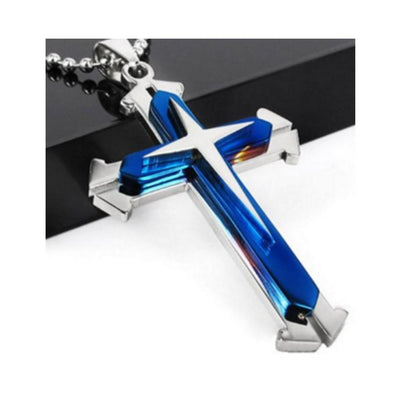 THIN BLUE LINE - BLUE SILVER STAINLESS STEEL CROSS PENDANT NECKLACE