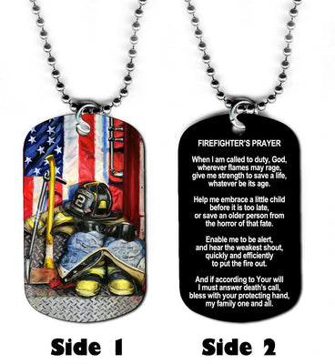 Dog Tag Necklace - Fireman Firefighter 2 Fire Prayer Hero Rescue Jesus God
