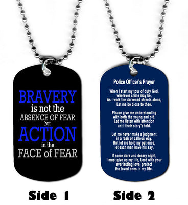Dog Tag Necklace - Police Prayer Set 2 Officer Cop Law Blue Jesus God Christian