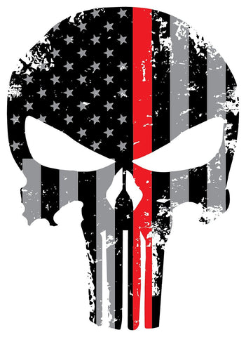 Tattered Reflective Firefighter 5x4 Inch Subdued Us Flag Punisher Skull Decal with Thin RED Line