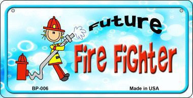 FUTURE FIRE FIGHTER METAL BICYCLE LICENSE PLATE