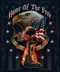 Home of the Free Brave Eagle Patriotic Military Throw Bed Blanket 50X60