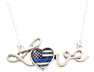 Police Appreciation Thin Blue Line Love Script Silver Necklace