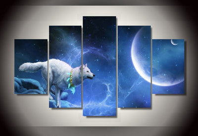 White wolf Moon Group Painting Canvas