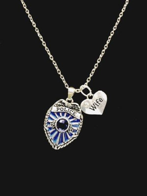 Blue Police Shield Badge Wife Heart Charm Necklace