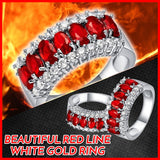 BEAUTIFUL RED LINE GARNET 10KT WHITE GOLD 3 CZ STONE FIREFIGHTER GIRL RING