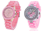 All Pink Silicone Strap Watch