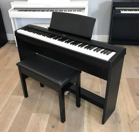 Kawai ES110 Digital Piano w/ Designer Stand, Pedal Board and Bench - Black