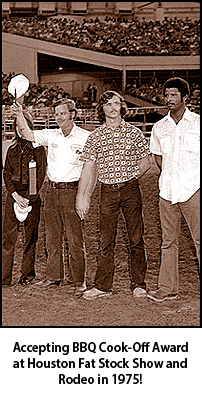 Guy's Meat MArket team accepting BBQ Cook-Off Award at Houston Fat Stock Show and Rodeo in 1975