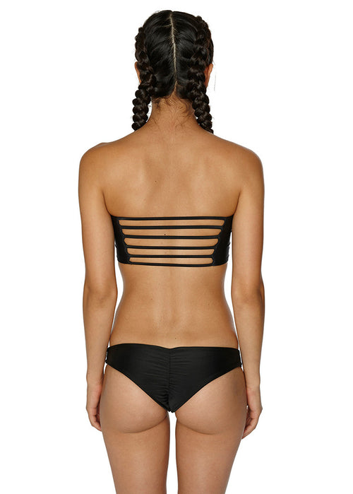 black box swim gigi scrunch bottom low rise minimal coverage cheeky jet black