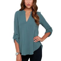 Womens V Neck Quarter Sleeve Top in Gray
