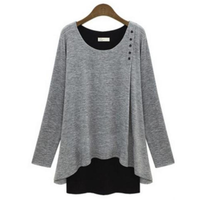 Layered Look Long Sleeve Button Top Blouse in Gray