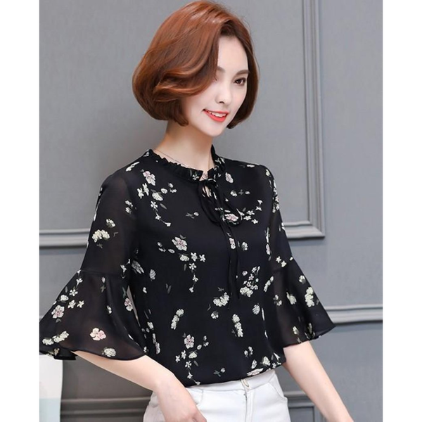 Summer Chiffon Bell Sleeve Top