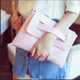 Womens Faux Leather Envelope Clutch Bag