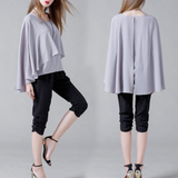 Womens Batwing Layered Chiffon Top in White