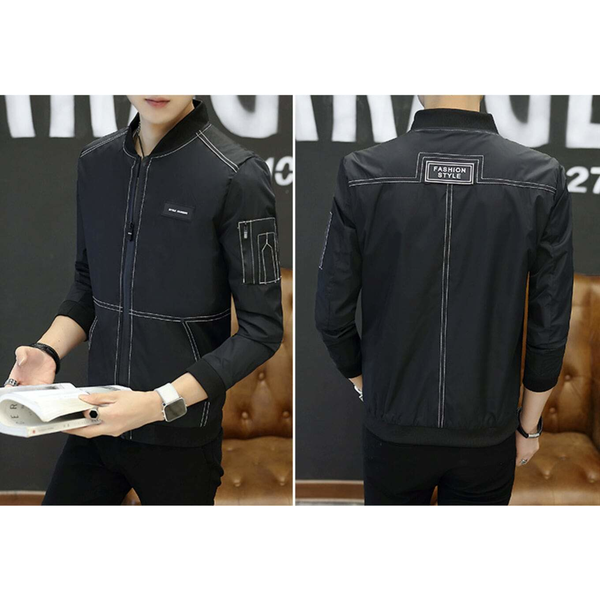 Mens Bomber Jacket with Top Stitching