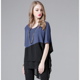 Womens Short Sleeve Layered Top