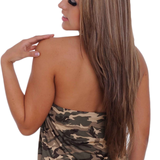 Women's Camo Tankini Top Bikini Beach Swimwear