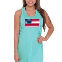 Women's USA Flag Summer Tank Dress Swimwear Cover-up