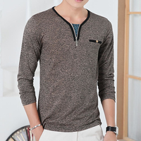 Mens Long Sleeve V Neck Top with Zipper