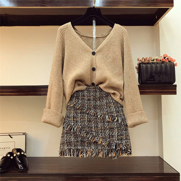 2019 Autumn V-necked Cardigan + High-waist Tweed Skirt Two Piece Set
