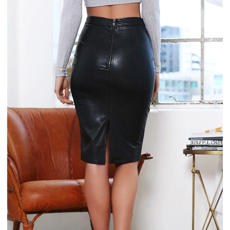 Faux Leather Sexy Pencil Skirt - Sassy Posh - 3