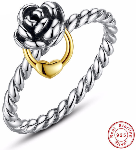 Sterling Silver Ring w/14K Gold Plated Heart Charm - Sassy Posh - 1