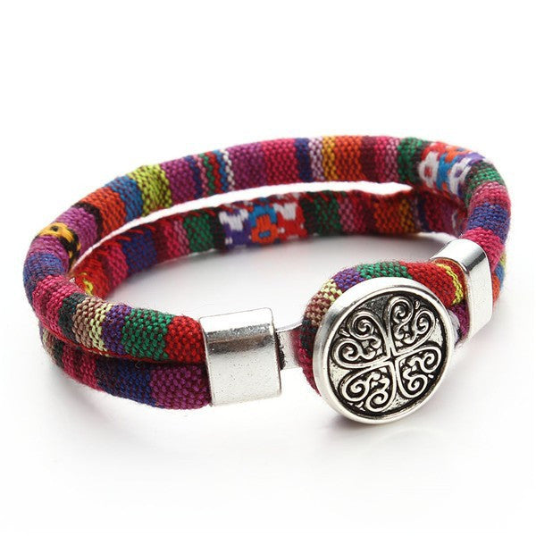Cotton Cord Tibetan silver Flower Snap button bracelet - Sassy Posh - 4