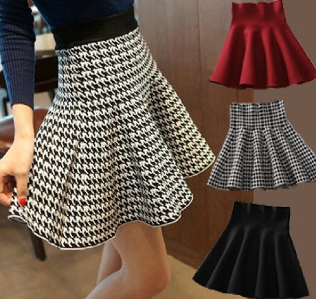 Houndstooth fit and flair A-line Skirt - Sassy Posh - 1