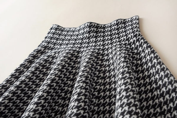 Houndstooth fit and flair A-line Skirt - Sassy Posh - 4