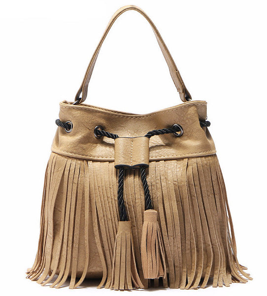 Tassel Bucket PU Leather Shoulder Bag - Sassy Posh - 1