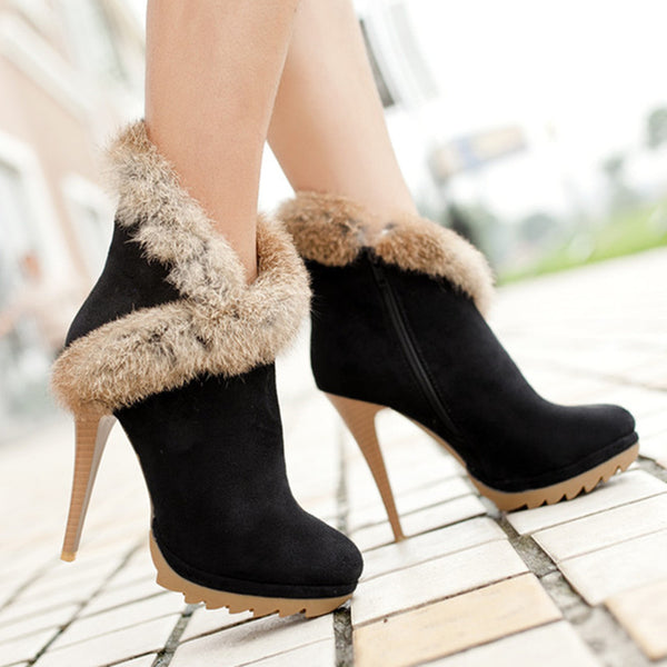 Stiletto fur Trim Ankle Boots