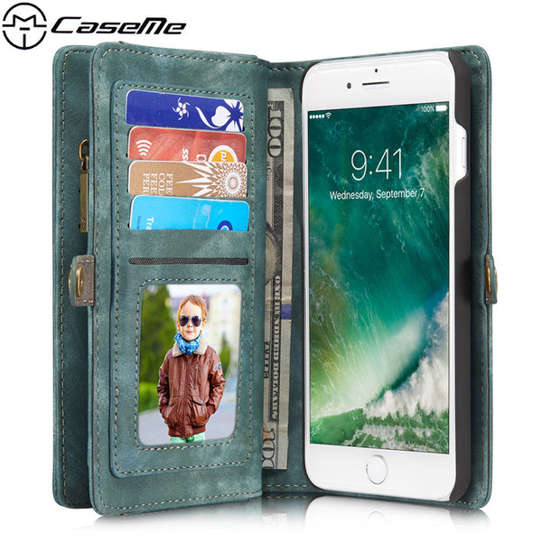 iPhone 7 Plus Case 7Plus Retro Leather Cover Zipper Wallet - Sassy Posh - 1