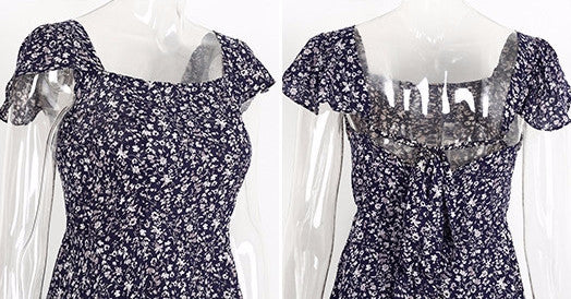 Backless floral print short dress