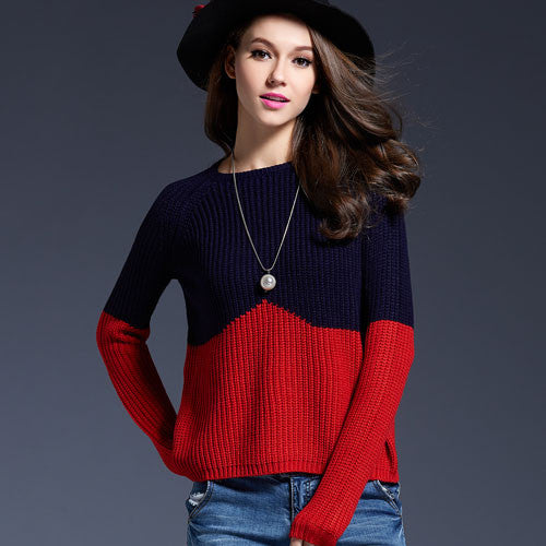 Contrast Color Splice Sweater - Sassy Posh - 3