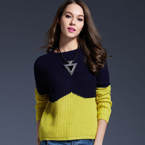 Contrast Color Splice Sweater - Sassy Posh - 2