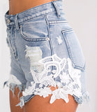 Ripped pocket Lace Denim Shorts