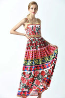 Charming Rose Print Beaded Maxi Dress